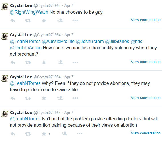 JAS -crystal lee promoting ABORTION & GAY